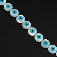 Mode Evil Eye Schmuck Perlen, Weiße Muschel, flache Runde, natürlich, mit Augen-Muster & Emaille, 9.50x9.50x3.50mm, Bohrung:ca. 0.5mm, ca. 30PCs/Strang, verkauft per ca. 11.5 ZollInch Strang