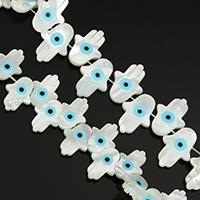 Mode Evil Eye Schmuck Perlen, Weiße Muschel, Evil Eye Hamsa, natürlich, Islam Schmuck & verschiedene Größen vorhanden & Emaille, Bohrung:ca. 0.5mm, ca. 30PCs/Strang, verkauft von Strang