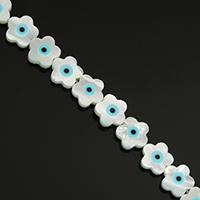Mode Evil Eye Schmuck Perlen, Weiße Muschel, Blume, natürlich, mit Augen-Muster & Emaille, 10x10x2.50mm, Bohrung:ca. 0.5mm, ca. 30PCs/Strang, verkauft per ca. 11.5 ZollInch Strang