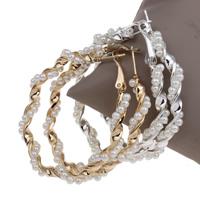Eisen Kreolen, mit ABS-Kunststoff-Perlen, plattiert, keine, frei von Blei & Kadmium, 53x53x6mm, verkauft von Paar