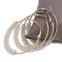Eisen Kreolen, mit ABS-Kunststoff-Perlen, plattiert, Blume Schnitt, keine, frei von Blei & Kadmium, 50x55x8mm, verkauft von Paar