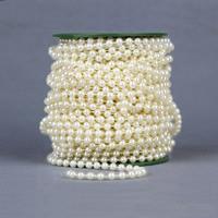 Garland-Strang Perlen, ABS-Kunststoff-Perlen, mit Kunststoffspule, rund, beige, 6mm, 25m/PC, 25m/PC, verkauft von PC