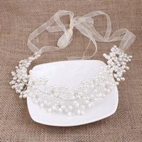 ABS-Kunststoff-Perlen Schweißband, mit Organza & Messing, Blume, silberfarben plattiert, für Braut & mit Strass, 30-50mm, 3SträngeStrang/Tasche, verkauft von Tasche