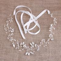 ABS-Kunststoff-Perlen Schweißband, mit Satinband & Kristall & Acryl, silberfarben plattiert, für Braut & facettierte, 40-50mm, verkauft von Strang