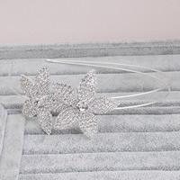 Braut Haarband, Zinklegierung, Blume, silberfarben plattiert, für Braut & mit Strass, frei von Blei & Kadmium, 46mm, verkauft von PC