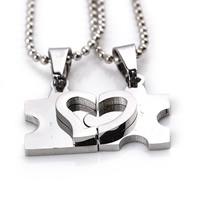 Ehepaar Halskette, Zinklegierung, mit Eisenkette, Herz, Platinfarbe platiniert, Kugelkette, frei von Blei & Kadmium, 19x12mm, Länge:ca. 17.7 ZollInch, verkauft von Paar