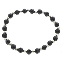 Lava Armband, mit Zinklegierung, rund, Platinfarbe platiniert, natürliche, schwarz, 6mm, verkauft per ca. 7 ZollInch Strang