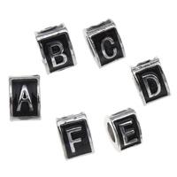 Zink Legierung Europa Alphabet Perlen, Zinklegierung, Dreieck, Platinfarbe platiniert, verschiedene Muster für Wahl & ohne troll & Emaille, frei von Blei & Kadmium, 7x10mm, Bohrung:ca. 5mm, 100PCs/Tasche, verkauft von Tasche