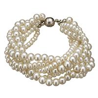 Glas Perlen-Armband, Glasperlen, Zinklegierung Magnetverschluss, Platinfarbe platiniert, 25x8mm, 13x14x6mm, Länge:ca. 7 ZollInch, 10SträngeStrang/Menge, verkauft von Menge