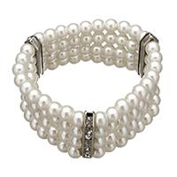 Glas Perlen-Armband, Glasperlen, mit Messing Strass Zwischenstück, Platinfarbe platiniert, 27x4x7mm, 25x6mm, Länge:ca. 6.5 ZollInch, 10SträngeStrang/Menge, verkauft von Menge