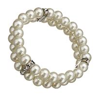 Glas Perlen-Armband, Glasperlen, mit Messing Strass Zwischenstück, Platinfarbe platiniert, 3.5x17.5x7mm, 7x8mm, Länge:ca. 7 ZollInch, 10SträngeStrang/Menge, verkauft von Menge