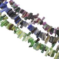 Edelstein-Span, Streifen Achat, Klumpen, keine, Grad AAA, 8x17x6mm-10x43x7mm, Bohrung:ca. 1mm, ca. 55PCs/Strang, verkauft per 15 ZollInch Strang