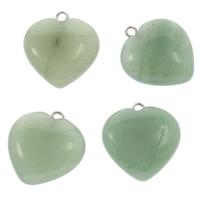 Grüner Aventurin Anhänger, mit Messing Stiftöse, Herz, Platinfarbe platiniert, Grad AAA, 20x22x7mm, Bohrung:ca. 2mm, ca. 10PCs/Tasche, verkauft von Tasche