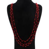 Coral Strickjacke-Kette Halskette, Natürliche Koralle, mit Nylonschnur, Messing Karabinerverschluss, natürlich, facettierte, rot, 6x5mm, Länge:ca. 39 ZollInch, 12SträngeStrang/Menge, verkauft von Menge