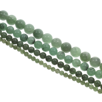 Aventurin Perlen, Grüner Aventurin, rund, verschiedene Größen vorhanden, farbenfroh, Bohrung:ca. 1mm, Länge:ca. 15 ZollInch, verkauft von Tasche