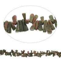 Edelstein-Span, Unakite, Klumpen, 7x14x3mm-10x20x6mm, Bohrung:ca. 1mm, Länge:ca. 15 ZollInch, 5SträngeStrang/Tasche, ca. 105PCs/Strang, verkauft von Tasche