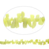 Edelstein-Span, Zitronen Jade, Klumpen, 8x16x5mm-12x22x9mm, Bohrung:ca. 0.8mm, Länge:ca. 15 ZollInch, 5SträngeStrang/Tasche, ca. 98PCs/Strang, verkauft von Tasche