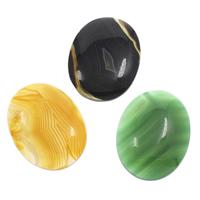 Streifen Achat Cabochon, flachoval, flache Rückseite, keine, 30x40x7mm, 10PCs/Tasche, verkauft von Tasche