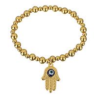Hamsa Armbänder, Edelstahl, mit Lampwork, Evil Eye Hamsa, goldfarben plattiert, Armband  Bettelarmband & Islam Schmuck, 5x6mm, 15x25x5mm, Länge:ca. 7.5 ZollInch, 5SträngeStrang/Menge, verkauft von Menge