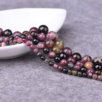 Turmalin Perle, rund, natürlich, Oktober Birthstone & verschiedene Größen vorhanden, Bohrung:ca. 1-2mm, verkauft per ca. 15 ZollInch Strang