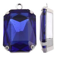 Glas Zinklegierung Anhänger, mit Glas, Platinfarbe platiniert, facettierte, blau, frei von Blei & Kadmium, 18x30x8mm, Bohrung:ca. 1.5mm, verkauft von PC