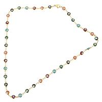 Evil Eye Schmuck Halskette, Edelstahl, blöser Blick, goldfarben plattiert, Bar-Kette & Emaille, 11x6x3mm, 4x2x0.5mm, Länge:ca. 19 ZollInch, 10SträngeStrang/Menge, verkauft von Menge