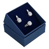 kiss me® Schmuck-Set, Fingerring & Ohrring, 925 Sterling Silber, mit Karton-box, Micro pave Zirkonia, 10mm, 9.5x18x6.5mm, Größe:7, verkauft von setzen