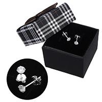 kiss me® Schmuck Ohrring, 925 Sterling Silber, mit Karton-box, Micro pave Zirkonia, 4.50x4.50x13.50mm, verkauft von Paar