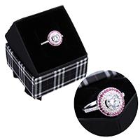 kiss me® Finger Ring, 925 Sterling Silber, mit Karton-box, Micro pave Zirkonia, 12mm, Größe:6, verkauft von PC