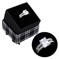 kiss me® Finger Ring, 925 Sterling Silber, mit Karton-box, Micro pave Zirkonia, 9.50mm, Größe:7, verkauft von PC