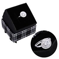 kiss me® Finger Ring, 925 Sterling Silber, mit Karton-box, Micro pave Zirkonia, 11.50mm, Größe:7, verkauft von PC