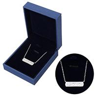kiss me® Schmuck Halskette, 925 Sterling Silber, mit Karton-box, mit Verlängerungskettchen von 1.5lnch, Wort Liebe, Oval-Kette & Micro pave Zirkonia, 31x7x2mm, 1.3x0.2mm, verkauft per ca. 15 ZollInch Strang