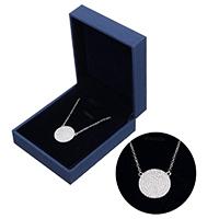 kiss me® Schmuck Halskette, 925 Sterling Silber, mit Karton-box, mit Verlängerungskettchen von 1.5lnch, flache Runde, Oval-Kette & Micro pave Zirkonia, 18x17.5x2.5mm, 1.5x0.5mm, verkauft per ca. 16 ZollInch Strang