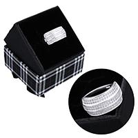 kiss me® Finger Ring, 925 Sterling Silber, mit Karton-box, Micro pave Zirkonia, 10.50mm, Größe:7, verkauft von PC
