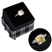kiss me® Finger Ring, 925 Sterling Silber, mit Karton-box, Micro pave Zirkonia & facettierte, 10mm, Größe:7, verkauft von PC