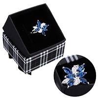 kiss me® Finger Ring, 925 Sterling Silber, mit Karton-box, Blume, mit kubischem Zirkonia & facettierte, 18mm, Größe:8, verkauft von PC