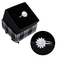 kiss me® Finger Ring, 925 Sterling Silber, mit Karton-box, Blume, Micro pave Zirkonia, 12.50mm, Größe:7, verkauft von PC