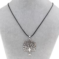 Baum des Lebens-Halskette, Zinklegierung, mit Gewachste Hanfschnur, mit Verlängerungskettchen von 5cm, antik silberfarben plattiert, frei von Blei & Kadmium, 35x44x2mm, verkauft per ca. 16.5 ZollInch Strang