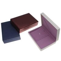 Karton Schmuckset Kasten, Fingerring & Ohrring & Halskette, mit PU Leder & Baumwollsamt, Rechteck, keine, 168x40x110mm, verkauft von PC