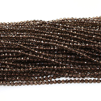 Natürliche Rauchquarz Perlen, rund, facettierte, 4mm, Bohrung:ca. 1mm, Länge:ca. 16 ZollInch, 5SträngeStrang/Menge, ca. 101PCs/Strang, verkauft von Menge