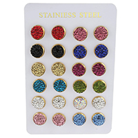 Strass Ohrring, Edelstahl, mit Ton, flache Runde, goldfarben plattiert, gemischte Farben, 12x17mm, 12PaarePärchen/Tasche, verkauft von Tasche