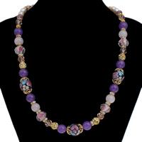 Lampwork Halskette, mit Natürliche kultivierte Süßwasserperlen & Zinklegierung, mit Verlängerungskettchen von 4cm, goldfarben plattiert, natürliche & mit Strass, 18x14mm, verkauft per ca. 19.5 ZollInch Strang