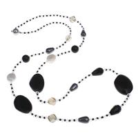 Schwarzer Achat Pullover Halskette, mit Natürliche kultivierte Süßwasserperlen & Kristall & Glas-Rocailles, Messing Magnetverschluss, facettierte, 28x22x8mm, verkauft per ca. 31 ZollInch Strang