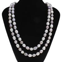 Natürliche Süßwasser Perle Halskette, Natürliche kultivierte Süßwasserperlen, Barock, zweifarbig, 9-10mm, verkauft per ca. 63 ZollInch Strang