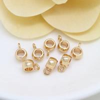 Messing Stiftöse Perlen, 24 K vergoldet, frei von Nickel, Blei & Kadmium, 5.50x8.50x4mm, Bohrung:ca. 3mm, 1.3mm, 100PCs/Menge, verkauft von Menge