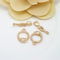 Messing Knebelverschluss, Rose, 24 K vergoldet, frei von Nickel, Blei & Kadmium, 5x21mm, 12.5x18mm, Bohrung:ca. 1.5mm, 20SetsSatz/Menge, verkauft von Menge