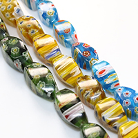 Murano Millefiori Lampwork Perle, oval, handgemacht, verschiedene Größen vorhanden, keine, Bohrung:ca. 1mm, verkauft von Menge