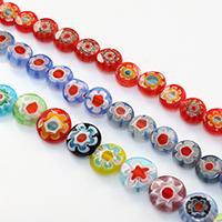 Murano Millefiori Lampwork Perle, flache Runde, handgemacht, verschiedene Größen vorhanden, keine, verkauft von Menge