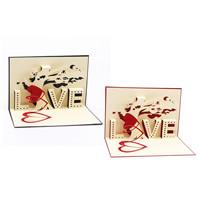 Papier 3D Grußkarte, Rechteck, Wort Liebe, 3D-Effekt, keine, 100x150mm, 10PCs/Menge, verkauft von Menge