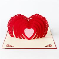 Papier 3D Grußkarte, Herz, 3D-Effekt, rot, 100x150mm, 10PCs/Menge, verkauft von Menge